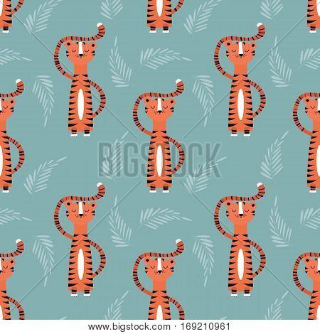 Seamless pattern with cute jungle orange tiger on blue background vector illustration