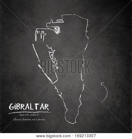 Gibraltar map blackboard chalkboard vector template dark
