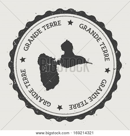 Grande-terre Sticker. Hipster Round Rubber Stamp With Island Map. Vintage Passport Sign With Circula