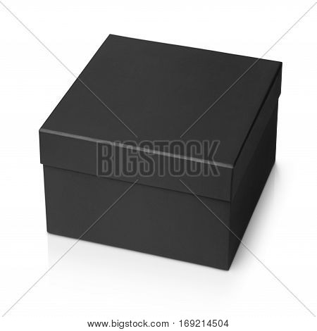 One black shoe square box isolated on white background with clipping path