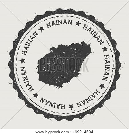 Hainan Sticker. Hipster Round Rubber Stamp With Island Map. Vintage Passport Sign With Circular Text