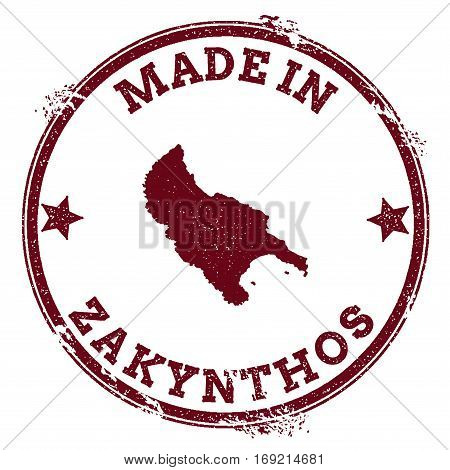 Zakynthos Island Seal. Vintage Island Map Sticker. Grunge Rubber Stamp With Made In Text And Map Out