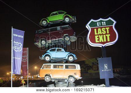 DUBAI UAE - DEC 4 2016: Last Exit food trucks park on the E11 highway between Abu Dhabi and Dubai United Arab Emirates