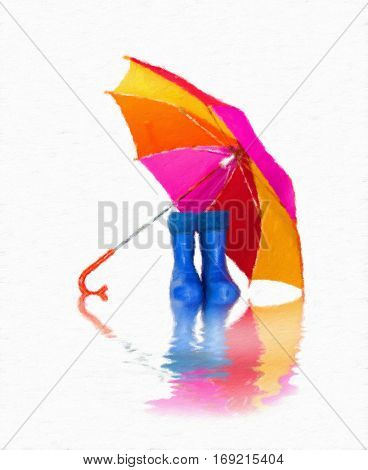rubber boots and a colorful umbrella with reflection. Oil painting effect