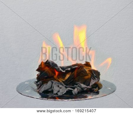 Burning paper on a metal tray. Oil painting effect