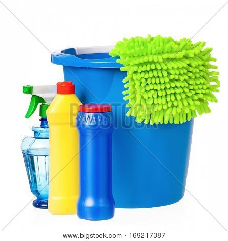 Plastic bucket with cleaning supplies, isolated on white background