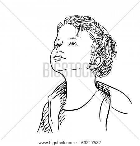 Baby girl raised her head and looking upwards, Hand drawn illustration isolated black lines on white, Vector sketch