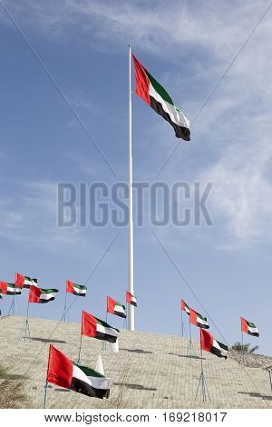 Many national flags of the UAE to celebrate the 45th National Day in Mezairaa Emirate of Abu Dhabi United Arab Emirates