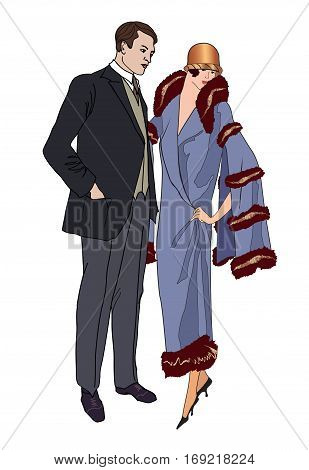 Man and woman in vintage style 1920's. Portrait of an attractive flapper girl with her boyfriend. Retro fashion illustration isolated on white background.