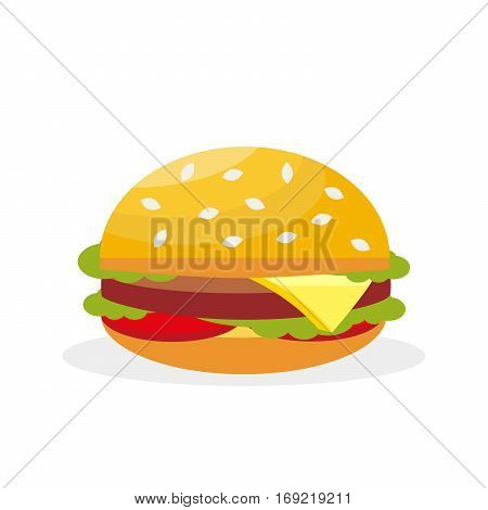 Vector hamburger. Fast food. Delicious meat sandwich with cheese and vegetables.