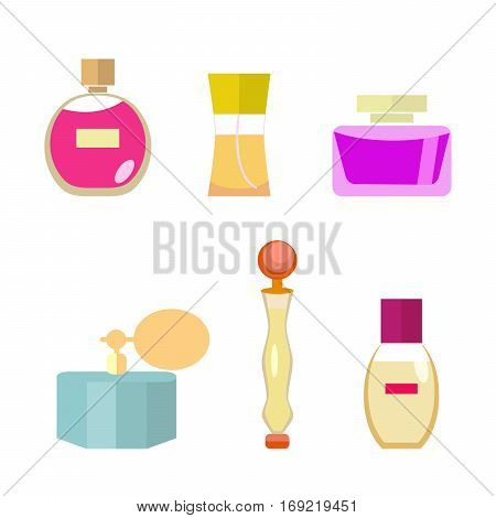 Set of female spirits in a flat style isolated on white background. Pleasant aroma. Vector, illustration EPS10