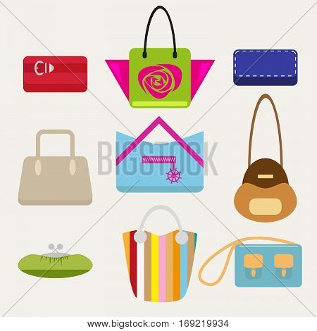Set of female handbags in a flat style isolated on a light background. Vector illustration, EPS10