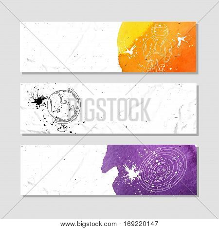 Space and astronauts. Set of white paper banner templates horizontal business banner. Vector banner corporate identity website banner design. Hand drawn layout background. Vector illustration