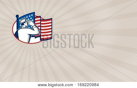 Business card showing Illustration of an American soldier serviceman saluting USA stars and stripes flag viewed from rear set inside oval done in retro style.