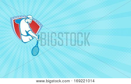 Business card showing Illustration of a tennis player holding racquet set inside crest shield with stars done in retro style.