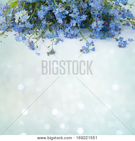 Springtime. Beautiful decorative floral arrangement with spring flowers forget-me-not on a delicate blue background. Card for Easter Mothers Day Birthday wedding.