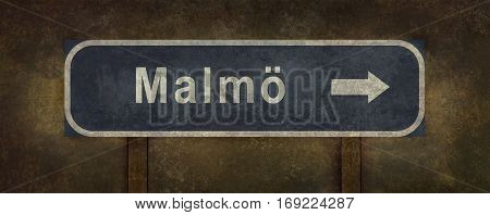Distressed Malmo road sign illustration with ominous background