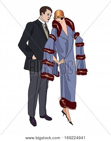 Couple On Party. Man And Woman In Vintage Style 1920's. Portrait Of An Attractive Flapper Girl With