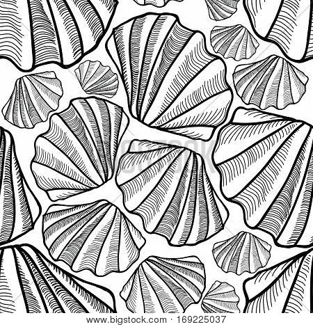 Shell seamless pattern. Sea shells background. Engraved underwater seashell tile ornament