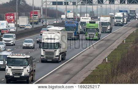 London UK - February 6 2017: Rush hours on the British motorway M1