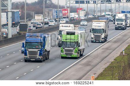 London UK - February 6 2017: Rush hours on the British motorway M1
