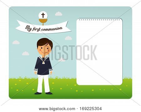 First communion child invitation on blue sky background