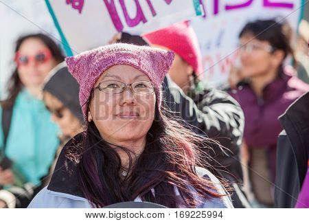 Lady In Pink Hat At March In Tuscon, Arizona