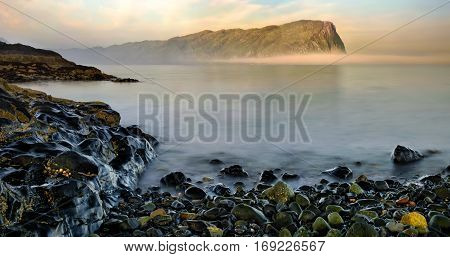 Cliffs of Laggan Dear Forest and rocky coastline of Loch Buie Isle of Mull Scotland
