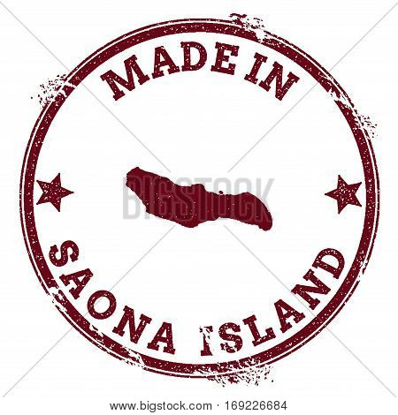 Saona Island Seal. Vintage Island Map Sticker. Grunge Rubber Stamp With Made In Text And Map Outline