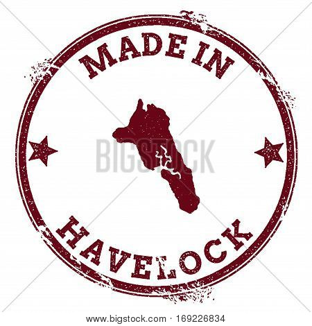 Havelock Island Seal. Vintage Island Map Sticker. Grunge Rubber Stamp With Made In Text And Map Outl