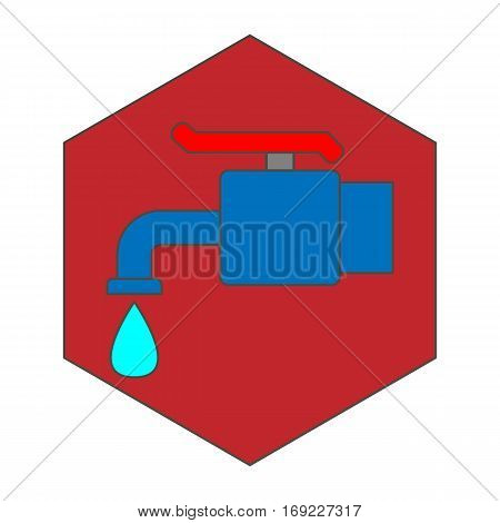 a simple flat color faucet icon vector
