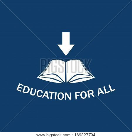 Illustration silhouette of an open book as a symbol of education.