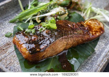 Salmon Teriyaki on Banana Leaf