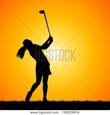silhouette of golfer against beautiful sunset background