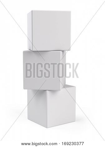 Stack of three White Boxes on white background - 3d rendering