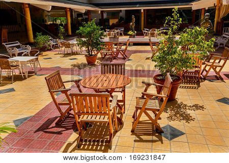 Holguin Province, Playa Pesquero hotel, Cuba, Aug. 31, 2016, great amazing beautiful view of outdoor cozy patio at Playa Pesquero hotel grounds on sunny day