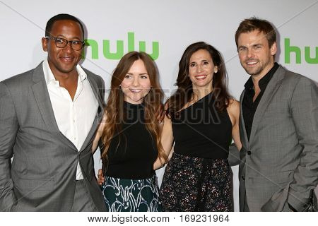 PASADENA - JAN 7:  Nyasha Hatendi, Tara Lynne Barr, Michaela Watkins, Tommy Dewey at the HULU TCA Winter 2017 Photo Call at the Langham Hotel on January 7, 2015 in Pasadena, CA