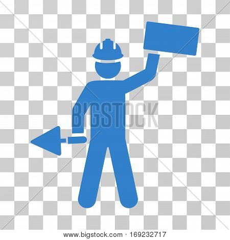 Builder With Brick icon. Vector illustration style is flat iconic symbol cobalt color transparent background. Designed for web and software interfaces.
