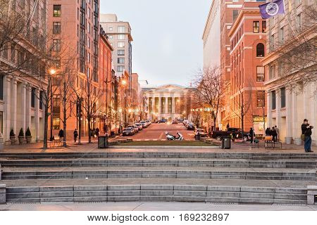 Washington DC, USA - December 29, 2016: Smithsonian Reynolds convention center during sunset with lights