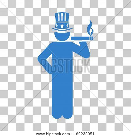 Capitalist icon. Vector illustration style is flat iconic symbol cobalt color transparent background. Designed for web and software interfaces.