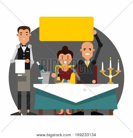 Poor service in the restaurant. Ruining a romantic dinner by candlelight. Vector illustration isolated on white background.