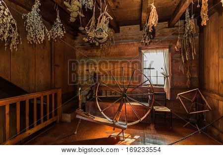 Black creek pioneer village, Toronto, Ontario, Oct.10, 2016, nice fragment of view of old time living vintage interior with various home related objects in background