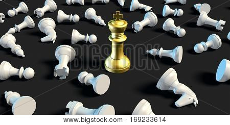 Last Man Standing Business Chess Strategy Business Concept 3D Illustration Render