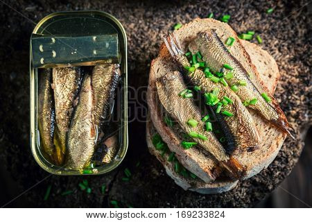 Fresh Sandwich Wirh Sprats With And Chive
