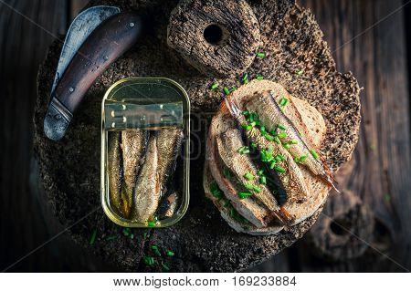 Healthy Sandwich Wirh Sprats With On The Wholegrain Bread