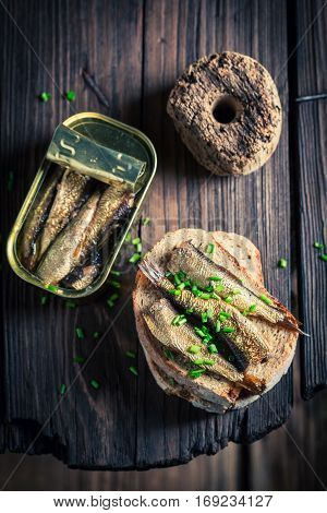 Tasty Sandwich Wirh Sardines With And Chive