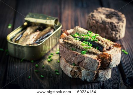 Fresh Sandwich Wirh Sardines With And Chive