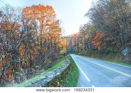 Skyline drive in Shenandoah National Park in Virginia during autumn