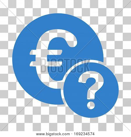 Euro Status icon. Vector illustration style is flat iconic symbol cobalt color transparent background. Designed for web and software interfaces.
