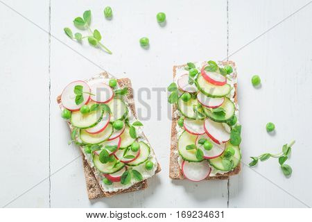 Spring Sandwich With Crunchy Bread, Fromage Cheese And Avocado